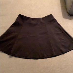 Black Scuba Material Skater Skirt